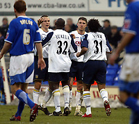 Photo: Chris Ratcliffe.<br />Ipswich Town v Portsmouth. The FA Cup. 07/01/2006.<br />Dario Silva is congratulated by his Portsmouth teammates after scoring the winning goal.