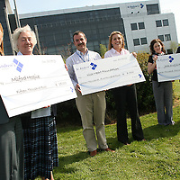 Annemarie Hayes and Sr. Phyllis Donnellan - Milford Hospice, Pat Healy - St. Andrew's, Shannon, Anne Riordan - regional manager Irish Heart Foundation, Tanya Veldman - treasurer charity committee and Jonathan Irwin - founder and chairman of the Jack and Jill Foundation at a cheque presentation of ?30,000 to the above charities from the charity committee of St. Andrew's on Wednesday.<br /> Annemarie Hayes and Sr. Phyllis Donnellan - Milford Hospice, Pat Healy - St. Andrew's, Shannon, Anne Riordan - regional manager Irish Heart Foundation, Tanya Veldman - treasurer charity committee and Jonathan Irwin - founder and chairman of the Jack and Jill Foundation at a cheque presentation of Û30,000 to the above charities from the charity committee of St. Andrew's on Wednesday.