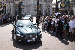 © Licensed to London News Pictures. 24/07/2019. London, UK. Theresa May leaves Buckingham Palace after meeting with the Queen - her last act as Prime Minister. The Conservative Party has elected Boris Johnson as their new leader and Prime Minister, following Theresa May's announcement that she will step down. Photo credit: Peter Macdiarmid/LNP