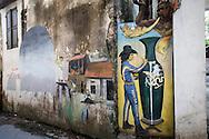 Elaborately decorated dwelling wall in Bat Trang ceramic village, Hanoi outskirts, Vietnam, Southeast Asia