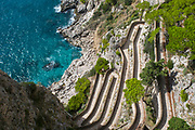 Via Krupp, created by the famous German industrialist Frederic Krupp, overlooking the Mediterranean and the Marina Piccola, Capri, Italy