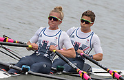 """Rio de Janeiro. BRAZIL.   GBR LW2X, Bow, Charlotte TAYLOR and Kat COPELAND, moving away from the start  at the 2016 Olympic Rowing Regatta. Lagoa Stadium,<br /> Copacabana,  """"Olympic Summer Games""""<br /> Rodrigo de Freitas Lagoon, Lagoa.   Monday 8th August<br /> 2016 <br /> <br /> [Mandatory Credit; Peter SPURRIER/Intersport Images]"""