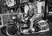 0016-03. Earl Martz on an Ariel 1000 motorcycle in 1946. He owned the Martz cycle store in McSherreytown, Pennsylvania.