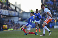 Portsmouth Forward, Conor Chaplin (19) unable to control the ball during the EFL Sky Bet League 1 match between Portsmouth and Blackpool at Fratton Park, Portsmouth, England on 24 February 2018. Picture by Adam Rivers.