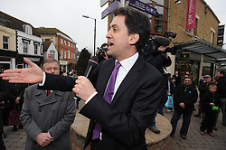 © Licensed to London News Pictures. 11/04/2013.Ed Miliband in Maidstone, Kent today (11/04/2013) The Labour leader Ed Miliband is on the campaign trail  ahead of next month's county council elections..Photo credit : Grant Falvey/LNP