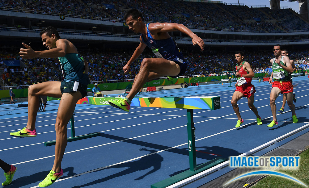 Aug 15, 2016; Rio de Janeiro, Brazil; Donald Cabral (USA) competes in the men's 3,000m steeplechase athletics event at Estadio Olimpico Joao Havelange during the Rio 2016 Summer Olympic Games.