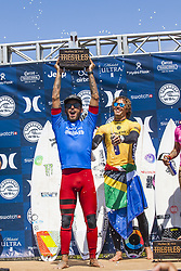September 15, 2017 - Filipe Toledo of Brazil and Jordy Smith of South Africa during the prize-giving ceremony at the Hurley Pro Trestles..Hurley Pro at Trestles 2017, California, USA - 15 Sep 2017 (Credit Image: © Rex Shutterstock via ZUMA Press)