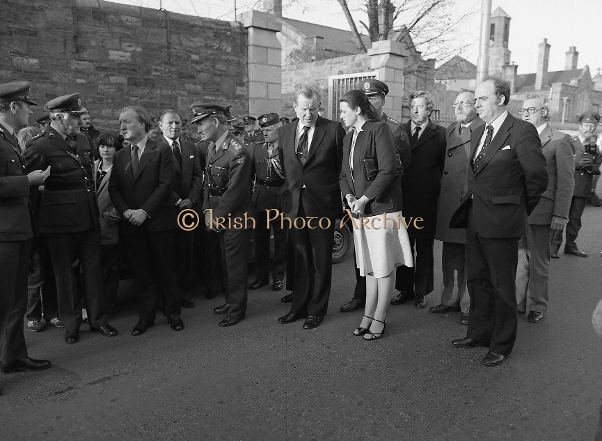 Body of Private Stephen Griffin killed in Lebanon is returned to his home soil..1980-04-19.19th April 1980.19-04-1980.04-19-80..Photographed at Arbor Hill:..From Left:..Third: An Taoiseach Charles Haughey..Fourth: Lt. General Carl O'Sullivan, Chief of Staff..Fifth: Padraig Faughner TD, Minister of Defence..Sixth: Maire Geoghegan Quinn..Seventh: Garret Fitzgerald TD. .Eighth: Frank Closkey TD .