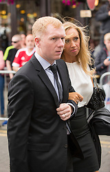 © Licensed to London News Pictures. 27/08/2015. Bury, UK.  Picture shows Paul Scholes. The funeral of Neville Neville father of footballers Gary & Phil Neville & England net ball coach Tracey has taken place today at Bury Parish church. Neville died in Australia after being taken ill on a visit to support his daughter  Tracey.  Photo credit: Andrew McCaren/LNP