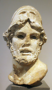 Marble head of a Greek General.  Roman, Imperial period, 1st-2nd century A.D.  Copy of a Greek bronze statue of the mid-4th century BC.   This powerful portrayal of a man of action belongs to a type popular in Roman times.