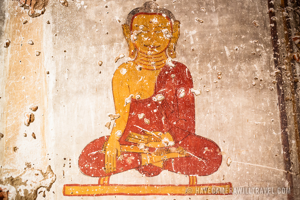BAGAN, Myanmar (Burma) - Paintings of the Buddha in a pagoda in Bagan. Capital of the ancient Kingdom of Pagan, Bagan features thousands of temples and pagodas, some of which date back to the 9th century.