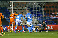 Goal!…Luton Town defender James Justin (2) scores the first goal during the EFL Sky Bet League 1 match between Luton Town and Bradford City at Kenilworth Road, Luton, England on 27 November 2018.