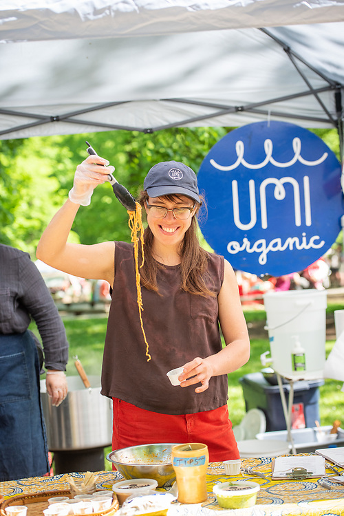 Lola Milholland serves her Umi Noodles at the PSU Farmers Market