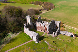 Aerial view of Hailes Castle beside River Tyne in East Lothian, Scotland, UK
