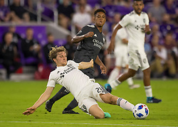 April 21, 2018 - Orlando, FL, U.S. - ORLANDO, FL - APRIL 21: San Jose Earthquakes midfielder Florian Jungwirth (23) slides to cut off a pass during the MLS soccer match between the Orlando City FC and the San Jose Earthquakes at Orlando City SC on April 21, 2018 at Orlando City Stadium in Orlando, FL. (Photo by Andrew Bershaw/Icon Sportswire) (Credit Image: © Andrew Bershaw/Icon SMI via ZUMA Press)