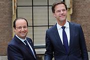 "François Hollande brengt een officieel bezoek aan Nederland. Hollande is in Nederland om de handelsbetrekkingen aan te halen.<br /> <br /> François Hollande brings an official visit to the Netherlands. Hollande is in the Netherlands for ""better""Trading relations<br /> <br /> Op de foto/ On the photo:  De Franse president François Hollande ontmoet Minister President Mark Rutte bij de Tweede Kamer<br /> <br /> French President Francois Hollande meets Prime Minister Mark Rutte at the House of Parlement"