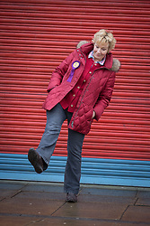 © Licensed to London News Pictures . 10/02/2014 . Sale , UK . Christine Hamilton outside the UKIP campaign office in Sale . Neil Hamilton , Deputy Chairman of UKIP , and his wife , Christine Hamilton , campaign for UKIP on the trail for the Wythenshawe and Sale East by-election , today (Monday 10th February 2014) . UKIP 's candidate , John Bickley , is widely predicted to come second . The election was called after the death of the Labour MP , Paul Goggins . Photo credit : Joel Goodman/LNP
