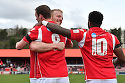 Ebbsfleet United midfielder Andy Drury (8) celebrates his goal during the Vanarama National League South match between Ebbsfleet United and East Thurrock United at the Enclosed Ground, Whitehawk, United Kingdom on 4 March 2017. Photo by Jon Bromley.