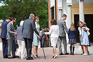 Paloma Rocasolano, Queen Sofia of Spain, Jesus Jose Ortiz Alvarez, Queen Letizia of Spain, King Juan Carlos of Spain, Menchu del Valle, Konstantin of Bulgary, Princess Sofia Crown Princess Leonor arrived Asuncion de Nuestra Senora Church for the First Communion of Princess Sofia on May 17, 2017 in Aravaca near of Madrid.