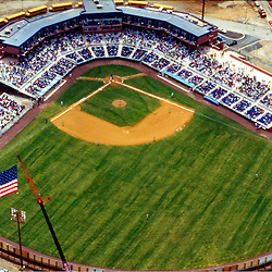 aerial view of Wilmington blue rocks opening day game, April 1994.