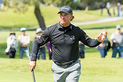 March 11, 2018 - Newport Beach, U.S. - Fran Quinn reacts after making a birdie putt on the ninth hole during the final round of the Toshiba Classic at the Newport Beach Country Club. (Credit Image: © Doug Gifford via ZUMA Wire)