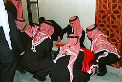 King Hussein of Jordan's sons carry his coffin during his funeral in Amman, Jordan on February 8, 1999. Twenty years ago, end of January and early February 1999, the Kingdom of Jordan witnessed a change of power as the late King Hussein came back from the United States of America to change his Crown Prince, only two weeks before he passed away. Photo by Balkis Press/ABACAPRESS.COM