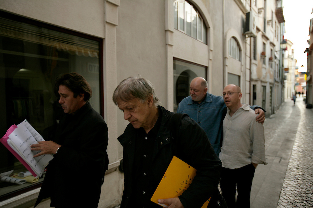 """French clarinetists Louis Sclavis and Michel Portal (who also plays bandoneon), swiss drummer Daniel Humair and bass player Sebastien Boisseau walking on Coimbra's streets. """"Jazz ao Centro"""" jazz festival is held twice a year in portuguese town of Coimbra."""