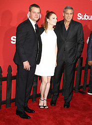Suburbicon Premiere at The Regency Village Theater in Westwood, California on 10/22/17. 22 Oct 2017 Pictured: George Clooney, Julianne Moore, Matt Damon. Photo credit: River / MEGA TheMegaAgency.com +1 888 505 6342