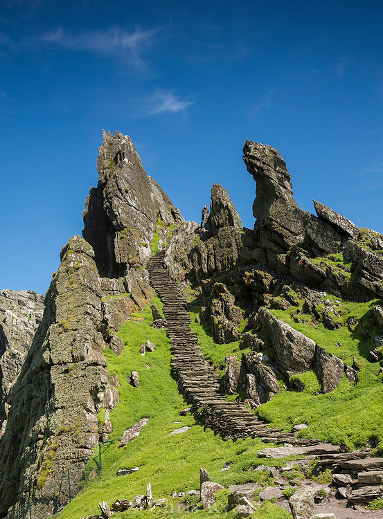 Stairs from Christ's Saddle to the monastery plateau, Skellig Michael, County Kerry, Ireland
