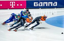 Sjinkie Knegt of Netherlands, Itzhak de Laat of Netherlands in action on 1500 meter during ISU World Short Track speed skating Championships on March 06, 2021 in Dordrecht
