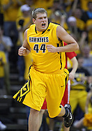 January 27, 2010: Iowa forward/center Brennan Cougill (44) is pumped up during the first half of their game at Carver-Hawkeye Arena in Iowa City, Iowa on January 27, 2010. Ohio State defeated Iowa 65-57.