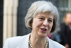 Downing Street, London, October 27th 2015.  Home Secretary Theresa May in Downing Street after attending a meeting with senior governement ministers and officials.