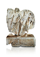 Roman Sebasteion relief  sculpture of Dionysus Drunk Aphrodisias Museum, Aphrodisias, Turkey.     Against a white background.<br /> <br /> A prancing woodland nymph leads drunken Dionysus who supports himself languidly on a small satyr. This is an image of Dionysian enjoyment and pleasure, hellenistic in style and fluently designed .<br /> <br /> If you prefer to buy from our ALAMY STOCK LIBRARY page at https://www.alamy.com/portfolio/paul-williams-funkystock/greco-roman-sculptures.html . Type -    Aphrodisias     - into LOWER SEARCH WITHIN GALLERY box - Refine search by adding a subject, place, background colour, museum etc.<br /> <br /> Visit our ROMAN WORLD PHOTO COLLECTIONS for more photos to download or buy as wall art prints https://funkystock.photoshelter.com/gallery-collection/The-Romans-Art-Artefacts-Antiquities-Historic-Sites-Pictures-Images/C0000r2uLJJo9_s0