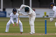 Harry Dearden defends off the back foot during Day 3 of the LV= Insurance County Championship match between Leicestershire County Cricket Club and Hampshire County Cricket Club at the Uptonsteel County Ground, Leicester, United Kingdom on 10 April 2021.