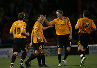 Photo: Rich Eaton.<br /> <br /> Crewe Alexandra v Hull City. Carling Cup. 15/08/2007. Hull's rihard Garcia (2nd l) is congratulated  by teammates after his second half goal.