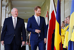 The Duke of Sussex with Australia's Governor General Peter Cosgrove at Admiralty House in Sydney on the first day of the royal couple's visit to Australia.