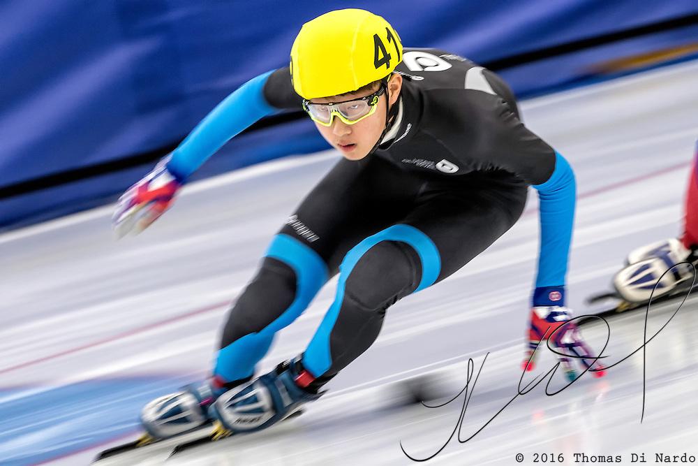 December 17, 2016 - Kearns, UT - Caleb Park skates during US Speedskating Short Track Junior Nationals and Winter Challenge Short Track Speed Skating competition at the Utah Olympic Oval.