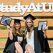 """23.08.2016        <br /> Over 300 students graduated from the Faculty of Arts Humanities and Social Sciences at the University of Limerick today. <br /> <br /> Attending the conferring ceremony were Bachelor of Arts in Psychology and Sociology graduates, Jessica Reilly, Carbury Co. Kildare and Kate Gorey, Ennis Road, Limerick. Picture: Alan Place.<br /> <br /> <br /> <br /> <br /> UL Graduates Employability remains consistently high as they are 14% more likely to be employed after Graduation than any other Irish University Graduate<br /> Each year, the Careers Service collects information about the 'First Destinations' of UL graduates. During the April/May period following graduation, we survey those who have completed full-time undergraduate and postgraduate courses for details on their current status. This current survey was conducted nine months after graduation and focuses on the employment and further study patterns of the graduates of 2015. A total of 2,933 graduates were surveyed and a response rate of 87% was achieved. <br /> As the University of Limerick commences four days of conferring ceremonies which will see 2568 students graduate, including 50 PhD graduates, UL President, Professor Don Barry highlighted the continued demand for UL graduates by employers; """"Traditionally UL's Graduate Employment figures trend well above the national average. Despite the challenging environment, UL's graduate employment rate for 2015 primary degree-holders is now 14% higher than the HEA's most recently-available national average figure which is 58% for 2014"""". The survey of UL's 2015 graduates showed that 92% are either employed or pursuing further study."""" Picture: Alan Place"""