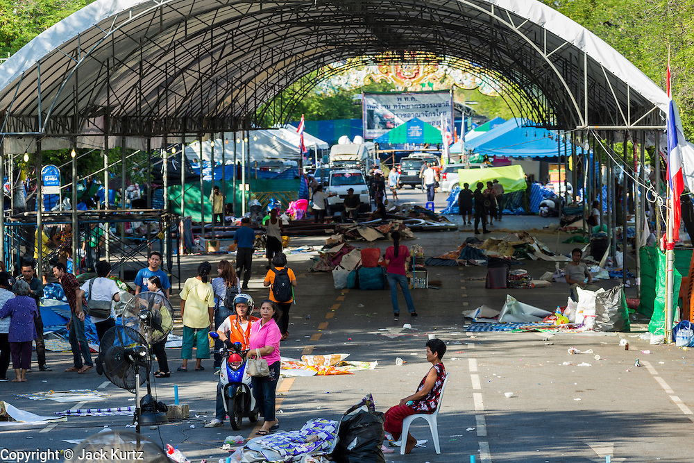 23 MAY 2014 - BANGKOK, THAILAND:  The nearly deserted anti-government protest area in Bangkok. The Thai military seized power in a coup Thursday evening. They suspended the constitution and ended civilian rule. This is the 2nd coup in Thailand since 2006 and at least the 12th since 1932.   PHOTO BY JACK KURTZ