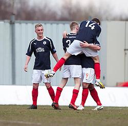 Falkirk's Sean Higgins (hidden) cele scoring their fourth goal..Falkirk 4 v 0 Cowdenbeath, 6/4/2013..©Michael Schofield..
