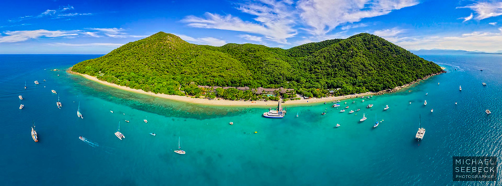 An aerial panoramic photograph of Fitzroy Island, with Nudey Beach visible on the far right.<br /> <br /> Limited Edition of 125