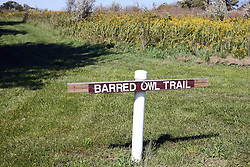 19 September 2012:   Evergreen Lake, Barred Owl Trail. Sign at trail head.