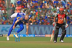 April 29, 2018 - Jaipur, Rajasthan, India - Rajasthan Royals bowler Ben Stokes bowls during the IPL T20 match against Sunrisers  Hyderabad at Sawai Mansingh Stadium in Jaipur on 29th April,2018. (Credit Image: © Vishal Bhatnagar/NurPhoto via ZUMA Press)