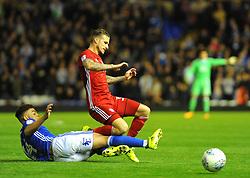 Che Adams of Birmingham City tackles Joe Bennett of Cardiff City -Mandatory by-line: NizaamJones/JMP - 13/10/2017 - FOOTBALL - St Andrew's Stadium- Birmingham, England - Birmingham City v Cardiff City - Sky Bet Championship