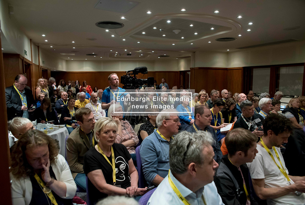 Pictured: delegates discuss citizen's assemblies in a fringe meeting at the conference.<br /> <br /> The SNP held their spring conference at the EICC in Edinburgh, where independence and brevet were high on the agenda.<br /> <br /> © Dave Johnston / EEm