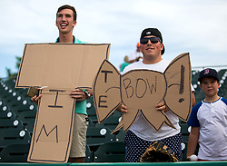 July 7, 2017 - Jupiter, Florida, U.S. - (left to right) Tim Tebow fans Alec Bell, West Palm Beach, and Taylor Farrell, West Palm Beach wait patiently for an autograph from Tim Tebow before game against the Jupiter Hammerheads at Roger Dean Stadium in Jupiter, Florida on July 7, 2017. (Credit Image: © Allen Eyestone/The Palm Beach Post via ZUMA Wire)