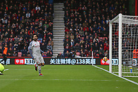 Football - 2018 / 2019 Premier League - AFC Bournemouth vs. Liverpool<br /> <br /> Mohamed Salah of Liverpool checks the linesman to make sure he was onside and his goal stands at the Vitality Stadium (Dean Court) Bournemouth <br /> <br /> COLORSPORT/SHAUN BOGGUST