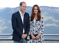The Duke and Duchess of Cambridge visit Echo Point, Katoomba and view the Three Sisters rock formation as part of their tour of New Zealand and Australia in Sydney, Australia, on the 17th April 2014.