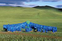 Mongolie. Centre d'initiation chamanique. Shaman. Chamane. Öbö chamanique. Lieu sacré dédié à Tingri, le ciel // Sacred Öbö for Shaman. Shamanisme initiation centre. Mongolia