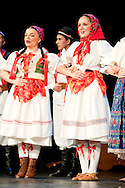 Folklorni ansambl Broda (Brod Folklore Ensemble) perform on the opening night of the Brodsko kolo, in Slavonski Brod, Croatia. The Brodsko kolo, now running for over 50 years, is the oldest folk dancing festival in Croatia © Rudolf Abraham